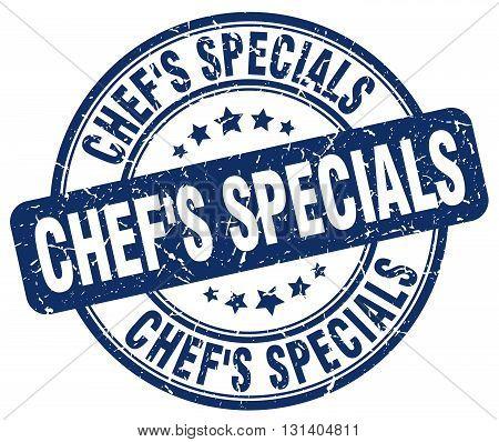chef's specials blue grunge round vintage rubber stamp.chef's specials stamp.chef's specials round stamp.chef's specials grunge stamp.chef's specials.chef's specials vintage stamp.