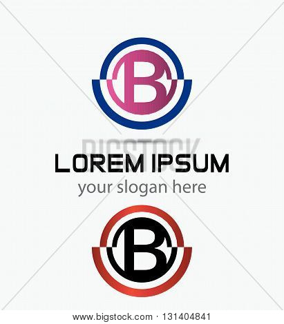 Abstract Letter b Icon. Alphabet logotype vector design