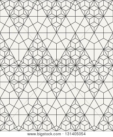 Modern stylish outlined geometric texture with structure of repeating triangles and hexagons - vector seamless pattern