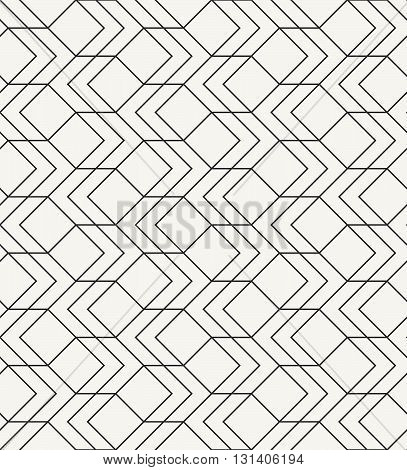 Modern stylish outlined geometric texture with simple structure of repeating squares and arrows - vector seamless pattern