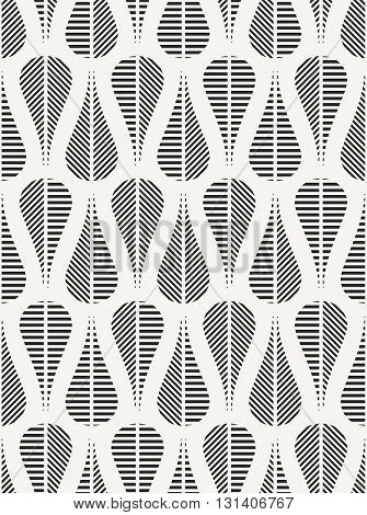 Modern stylish fabric background with structure of repeating teardrops with different geometric texture. Vector seamless pattern.