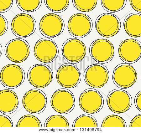 Vector seamless pattern. Modern stylish hand drawn geometric texture with structure of repeating yellow circles.
