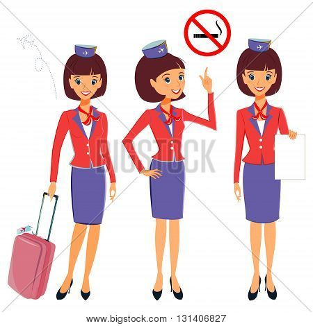 Flight attendant in different working situations set. Vector illustration professional occupation character. Cabin crew showing No smoking on board travel luggage migration card. Isolated on white