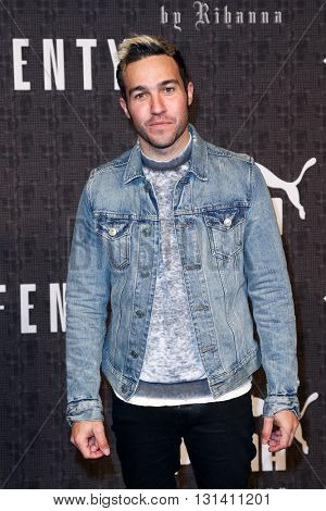 NEW YORK-FEB 12: Musician Pete Wentz of Fall Out Boy attends the FENTY PUMA by Rihanna AW16 Collection during Fall 2016 New York Fashion Week at 23 Wall Street on February 12, 2016 in New York City.