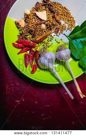 Spices To Cook Spicy Thailand Rests On A Wooden Floor