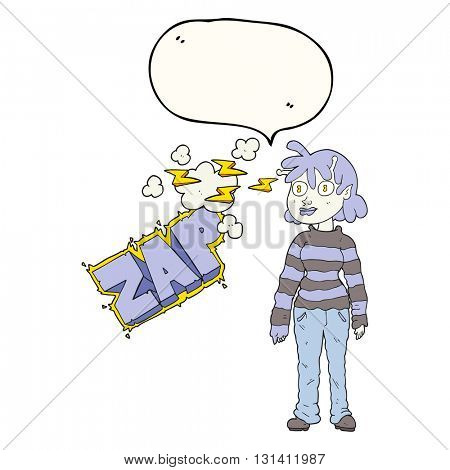 freehand drawn speech bubble cartoon casual alien girl using telepathy