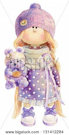 Waterolor illustration of cute handmade stuffed doll toy with small teddy bear in her hand. Nice illustration for bithday or any other card design.