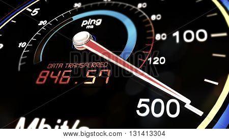 Internet Bandwidth Download Upload Speed Meter 3D Illustration poster