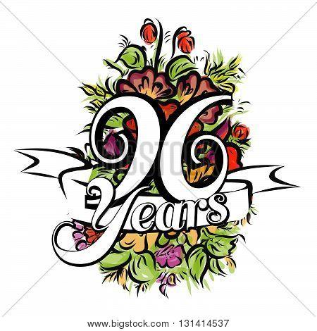 96 Years Greeting Card Design