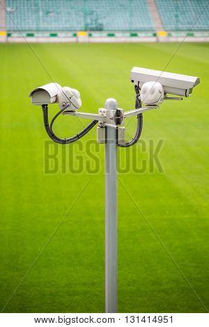 Surveillance Cameras Controlling Sport Pitch