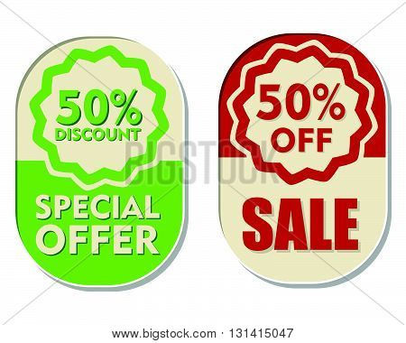 50 percent off discount, sale and special offer text banners, two elliptic flat design labels, business shopping concept, vector