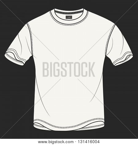 Hand drawn vector illustration of blank white t-shirt on black background. Modern detailed background is perfect for placing your own prints and artwork on it. Isolated vector for clothing stores.