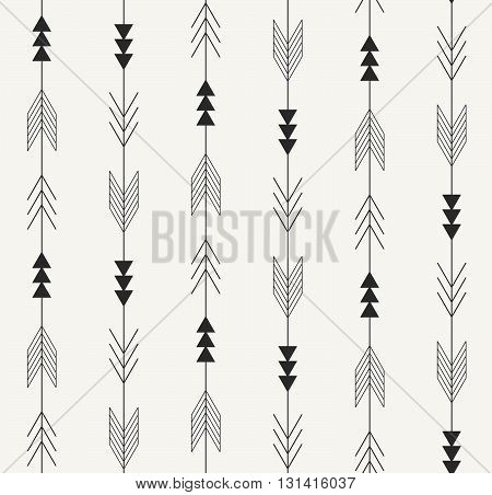 Vector seamless pattern. Arrows from traditional Mexican Aztec culture in trendy outlined style. Modern monochrome repeating background for textile wrapping paper or wallpaper.