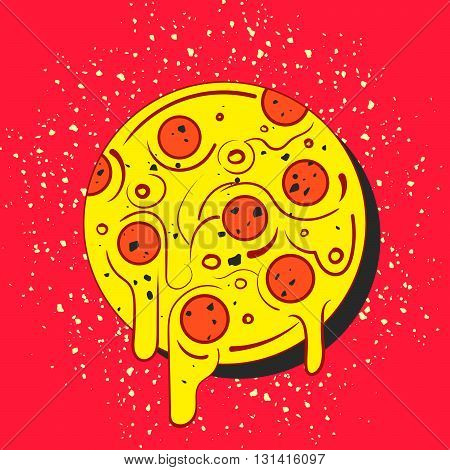 Hand drawn hot full circle of tasty pizza on red background. Modern fast food stylish logotype. Isolated vector illustration.