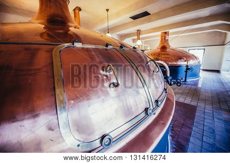 Copper brewing tank inside the modern brewery poster
