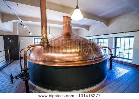 Copper brewing tank inside the modern brewery