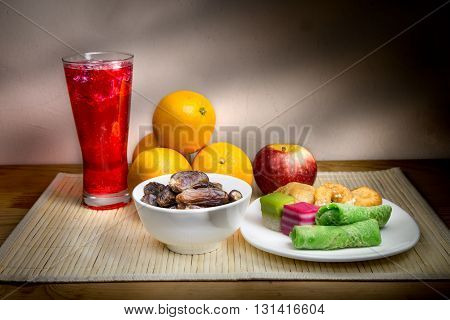 Cold Drinks, Dates, Sweet Kuih Common Iftar Break Fast Food.