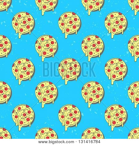 Hand drawn tasty pizza circles vector seamless pattern. Modern stylish repeating fast food service elements background. Isolated vector illustration on blue background.