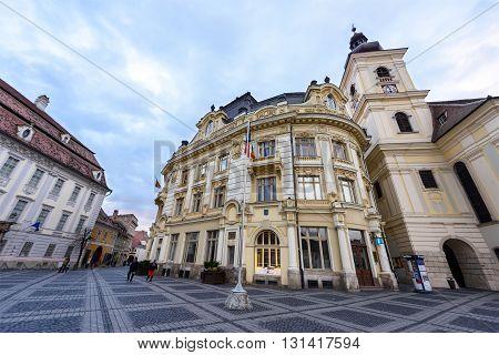 SIBIU, ROMANIA - MARCH 2016: Sibiu city downtown and main square in Romania on 8th of March in Sibiu, Romania