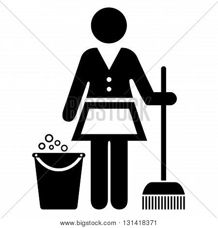 Charwoman vector icon isolated on white background