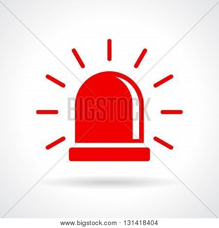 Red flashing light icon isolated on white background