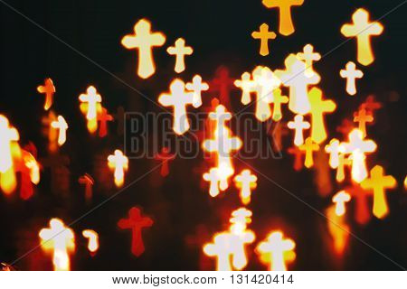 faith Christianity crosses abstract blur background  in darkness