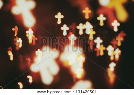 faith Christianity crosses abstract blur background over darkness