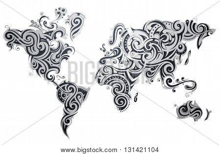 Decorative world map with various ornaments and textures on each continent
