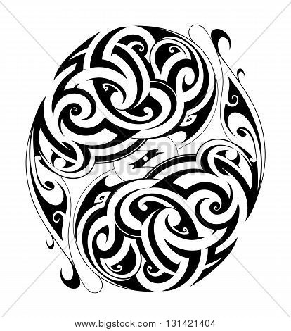 Maori style ethnic tattoo in round shape