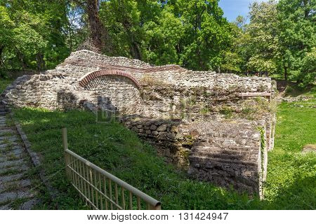 Ruins of the homes in the ancient Roman city of Diokletianopolis, town of Hisarya, Plovdiv Region, Bulgaria