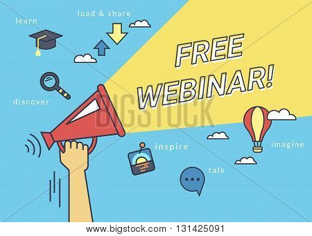 Free webinar baner for social networks. Flat line contour illustration of human hand holds red megaphone with yellow speech bubble with free webinar announcement text. Template on blue background