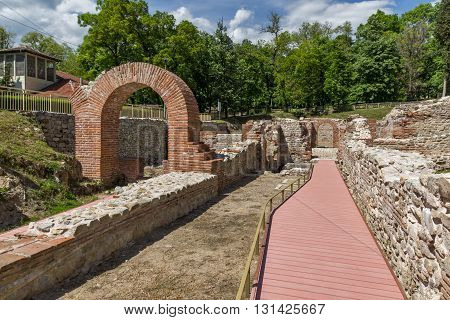 Entrance and Panoramic view in The ancient Thermal Baths of Diocletianopolis, town of Hisarya, Plovdiv Region, Bulgaria