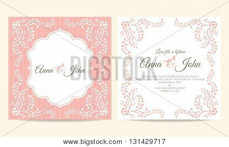 Wedding card - pink and white creeping plant frame vintage vector template design
