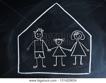 Happy happy family drawn on a blackboard