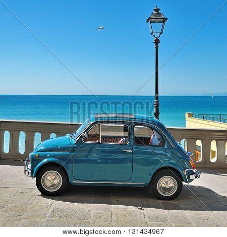 Camogli, Liguria, Italy - September 20, 2015 Festival Fiat 500 Rally