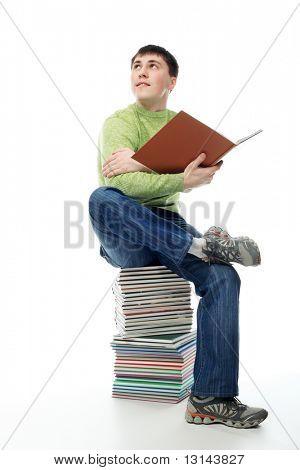 Retrato de un joven en un vestido de académico. Tema educativo.