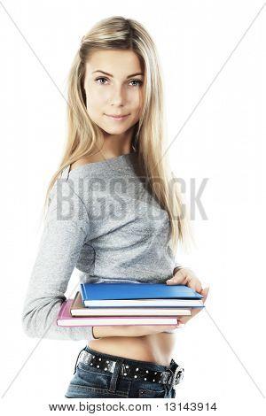 Retrato de un estudiante bastante. Rodada en un estudio.