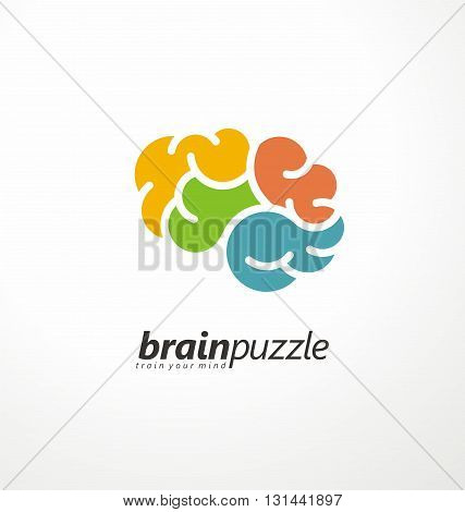 Brain symbol made from puzzle pieces. Vector logo design template. Mind games creative icon layout.
