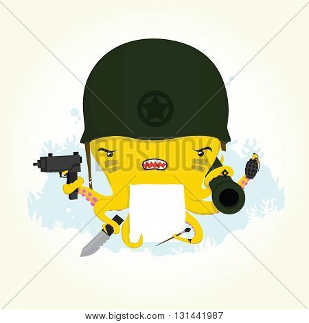 Angry cartoon octopus soldier isolated vector illustration