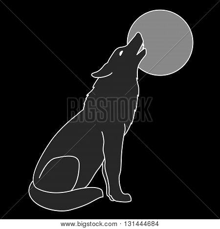 gray wolf silhouette howling full moon black background