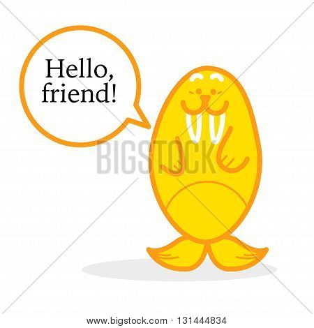 Vector Northern animal walrus isolated on white background. Flat simple walrus with text box silhouette.