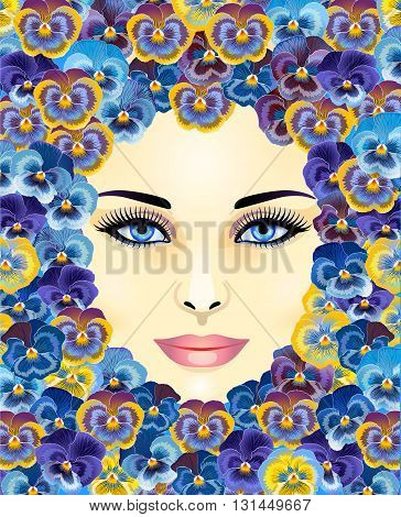 a beautiful woman's face on the background of violets
