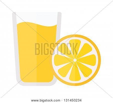 Glass of orange juice fresh drink vector