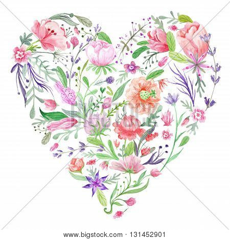 Creative print with painting of meadow flowers - tulips, peony and lavender and forest herbs isolated on white background