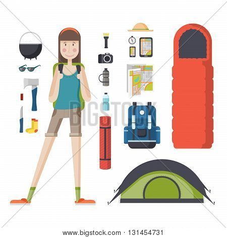 Girl tourist with a backpack and a set of tourist things. Young woman traveler with a backpack, a sleeping bag, a tent. Girl student ready for the journey, deals, tourism, hiking, camping.