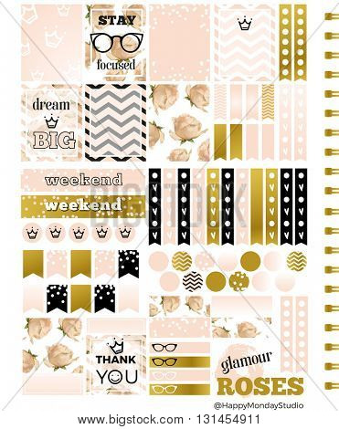 royal roses summer printable planner stickers - pale pink, gold and black - letter size
