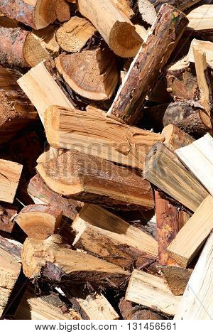 A Pile Of Cut And Chopped Wood