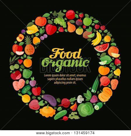 Fruits and Vegetables. Gardening, horticulture banner. Organic Food. Vector illustration