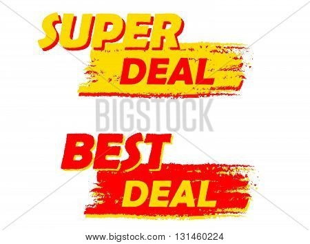 super and best deal banners - text in yellow and red drawn labels, business shopping concept, vector
