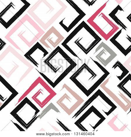 Cute Vector Geometric Seamless Pattern. Brush Strokes, Arrows. Hand Drawn Grunge Texture. Abstract F